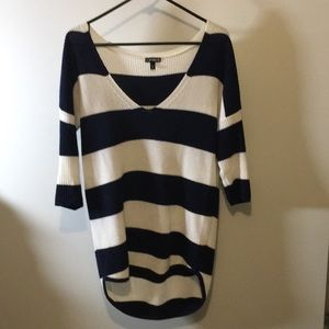 Blue and white high-low sweater